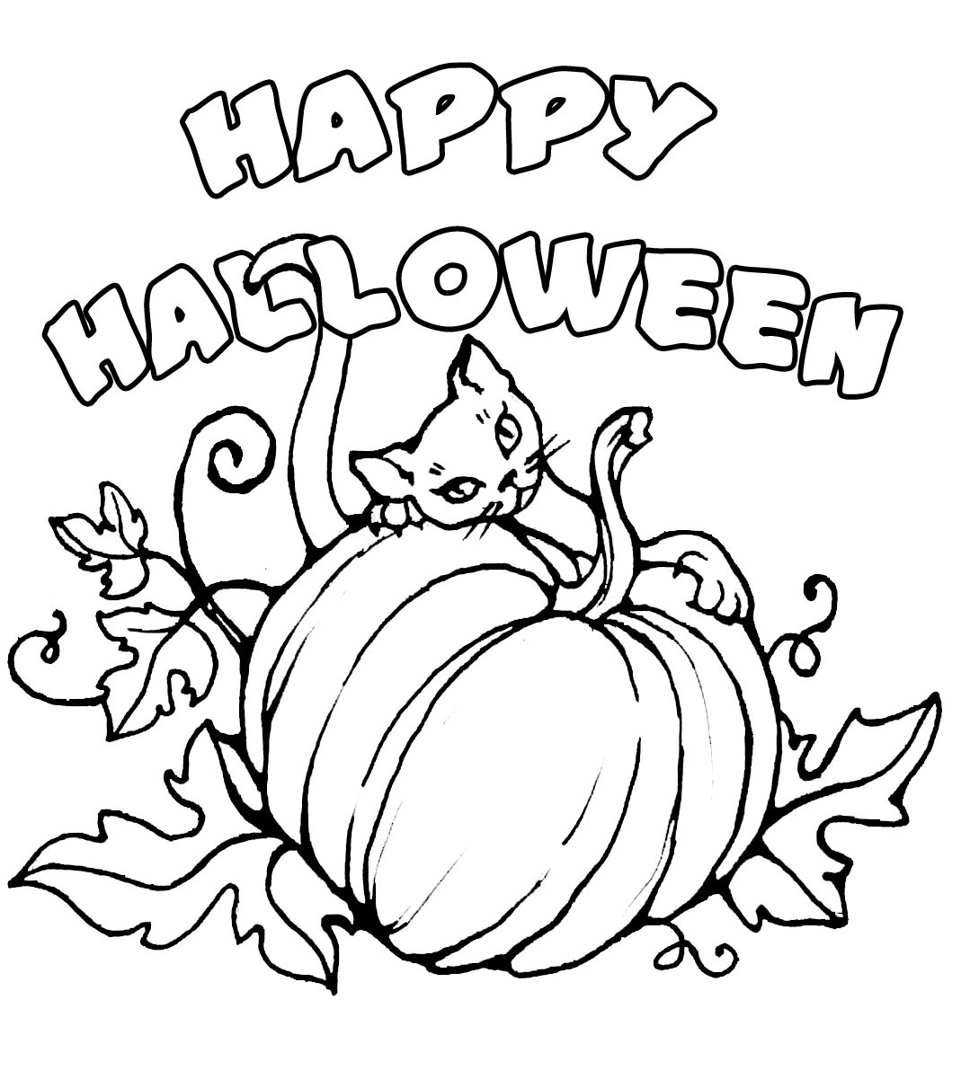 Printable Happy Halloween Coloring Pages For Kids