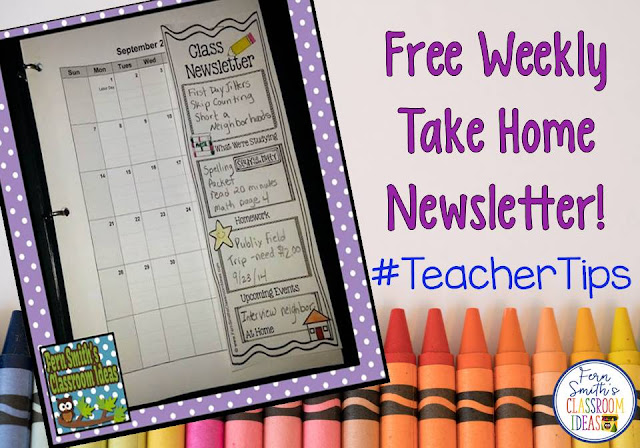 "Are you tired of parents saying ""we didn't know or we didn't read your newsletter"" when you talk to them? Let the student's fill out this FREE Classroom Newsletter every Monday morning and they will guarantee that their parents will read their own, personal NEWSPAPER! For more Parent Communication tips and resources, pin this post for later! Perfect for First, Second, Third, Fourth, Fifth and even Sixth Grade. Tuesday Teacher Tips: Communication at Fern Smith's Classroom Ideas and Teach123."