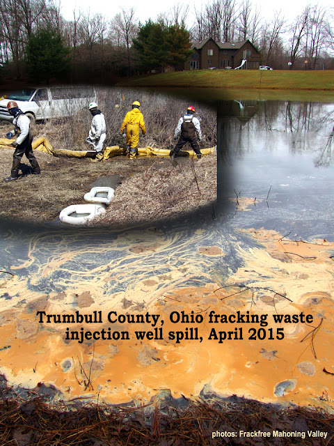 pond filled with Trumbull County, Ohio fracking waste  injection well spill, April 2015 (photos: Frackfree Mahoning Valley)