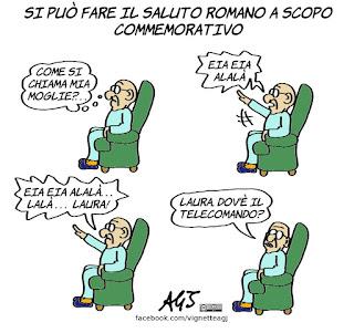 cassazione, saluto romano, fascismo, alzheimer, memoria, commemorazione, fascisti, vignetta, satira