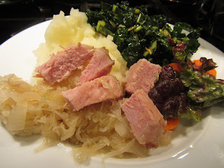 Sauerkraut, {s}mashed potatoes, Kale salad, smoked pork chops, Kassler, dairy free, milk free, galactosemia recipe