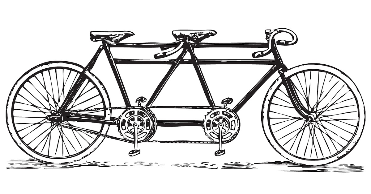 Free Vintage Clip Art Images: Vintage Tandem Bicycle Clip Art