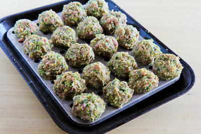 Ottolenghi's Turkey-Zucchini Meatballs with Tzatziki and Sumac found on KalynsKitchen.com