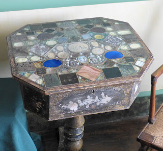 A table inlaid by one of the Parminter cousins in the Drawing Room, A la Ronde