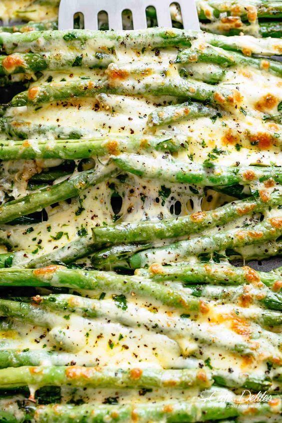 Cheesy Roasted Green Beans #cheesy #roasted #greenbeans #veggies #vegetable #vegetarianrecipes #veganrecipes