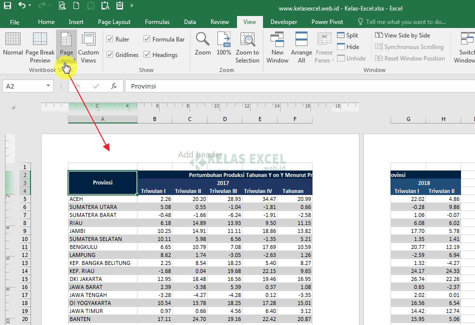 Tampilan Page Layout di Excel