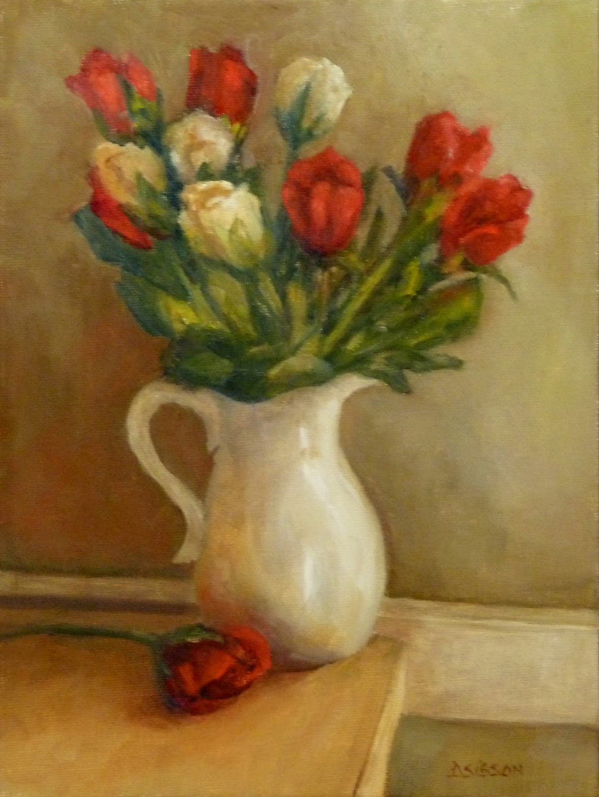 Daily Painting Projects: Red Buds in Vase Oil Painting ...