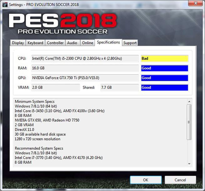 تحميل ملف الاعدادات setting file للعبة بيس PES 2018 رابط