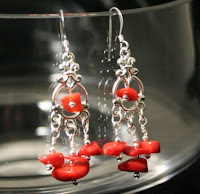 Fire earrings - Sterling silver, coral, wire wrapped :: All the Pretty Things