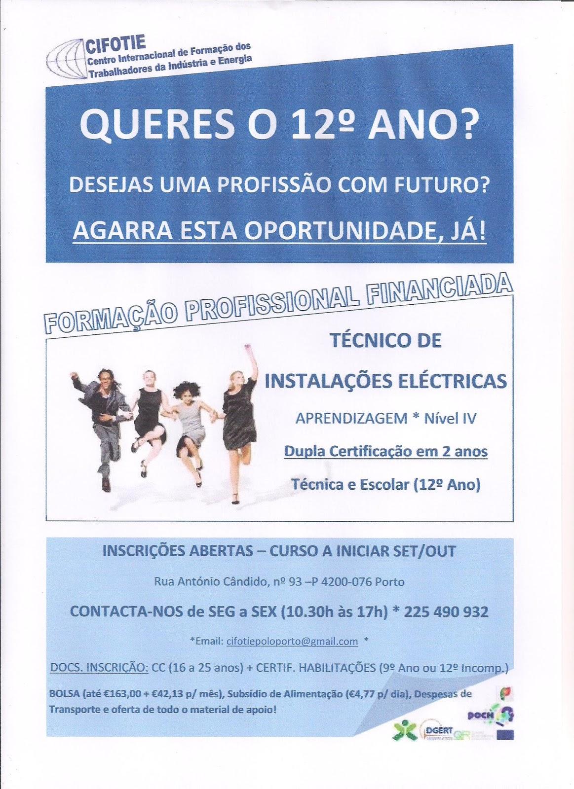 Curso Técnico de Instalações Eléctricas (Aprendizagem – Nível IV Dupla Certificação) – Porto