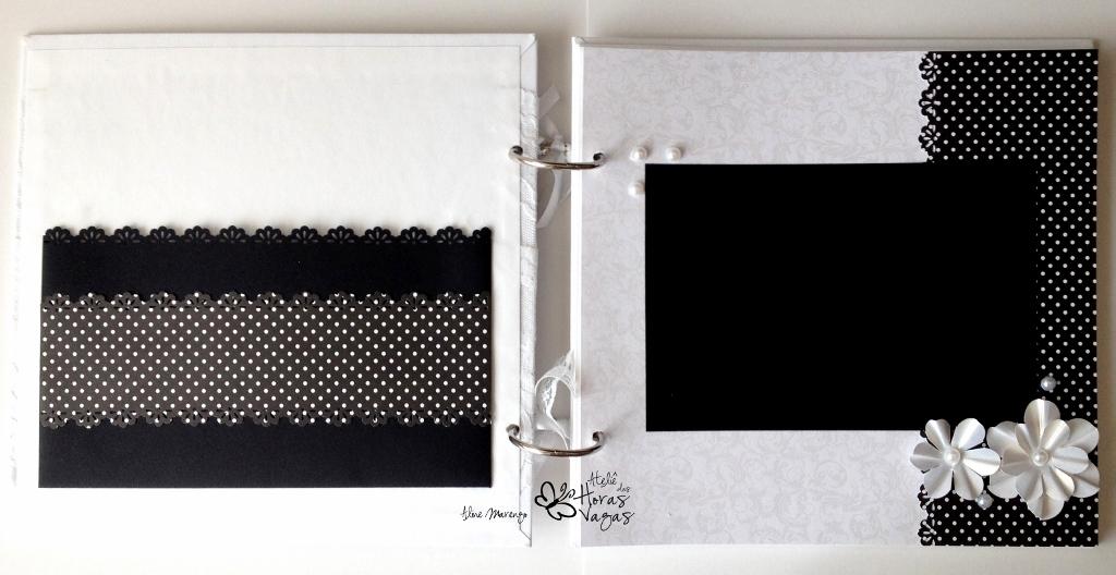 livro álbum de mensagens casamento noivado preto e branco P&B delicado renda flores