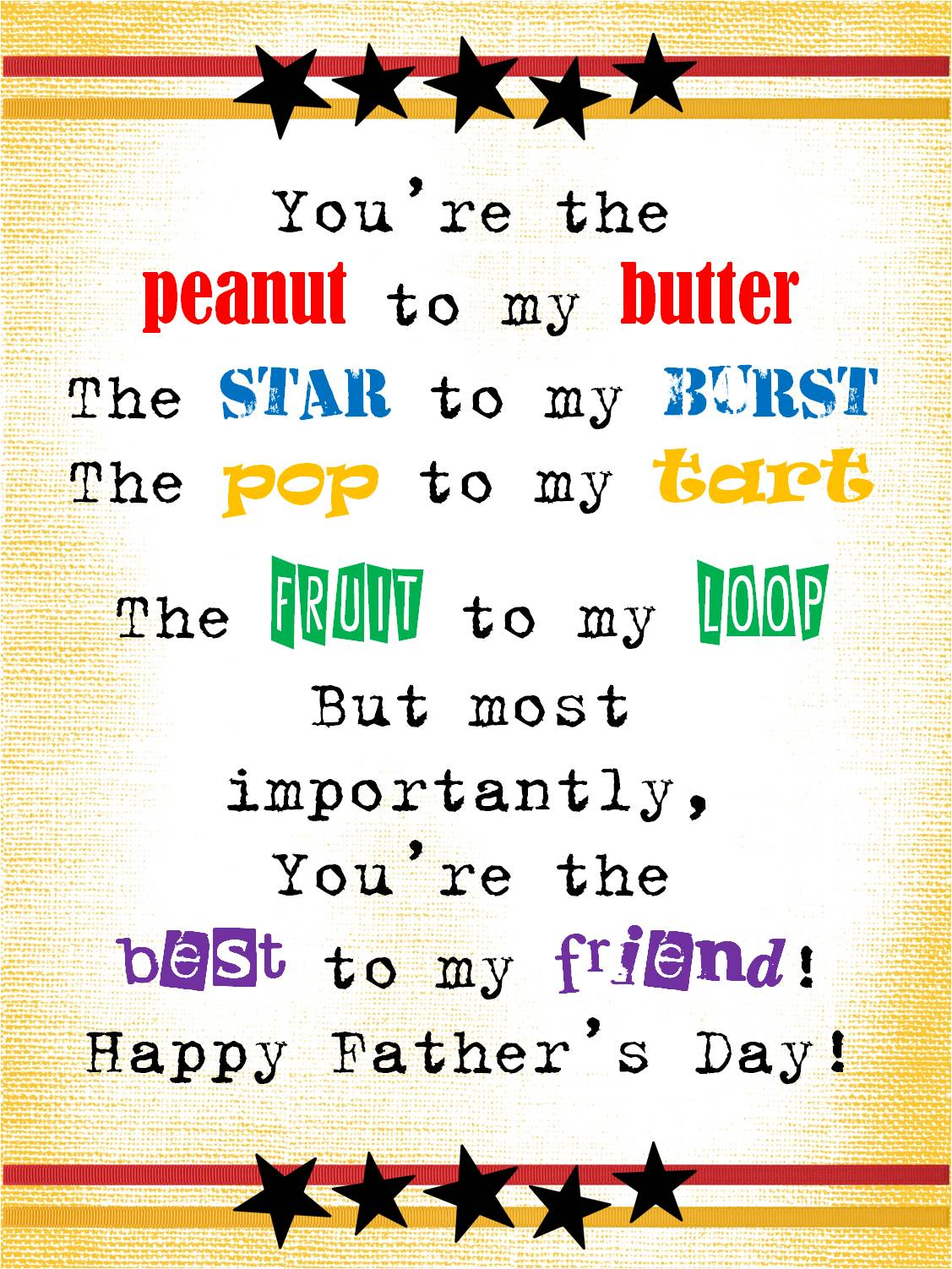 Strong Armor: Father's Day Poem - You're the peanut to my ...