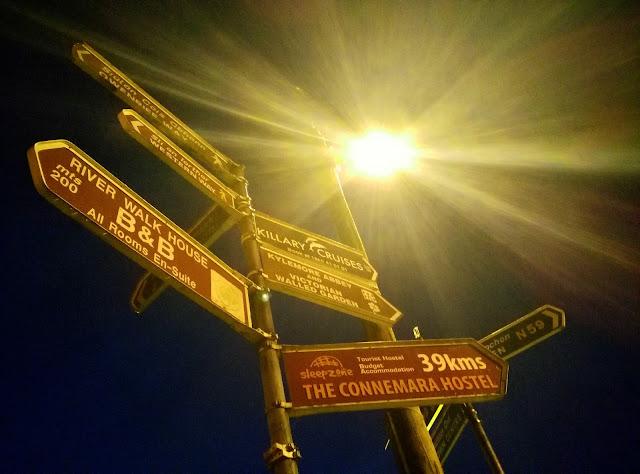 street signs, street light