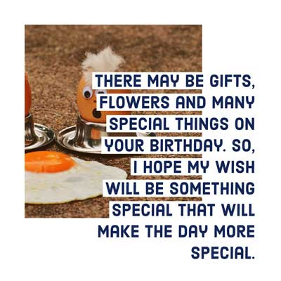 There may be gifts, flowers and many special things on your birthday. So, I hope my wish will be something special that will make the day more special.