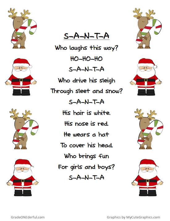 Free Christmas Poem Printable: A free printable of a very cute Santa poem. Five versions in colour and black and white. #christmaspoems #poemsforkids #gradeonederful