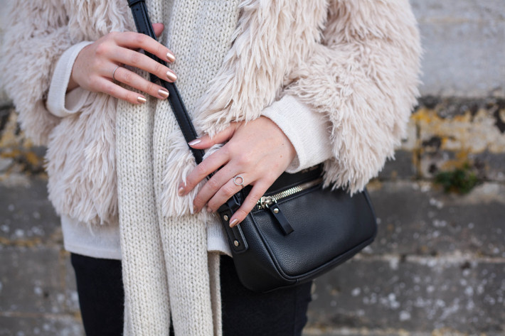 Outfit: cream coloured shaggy faux fur with Essie Penny Talk