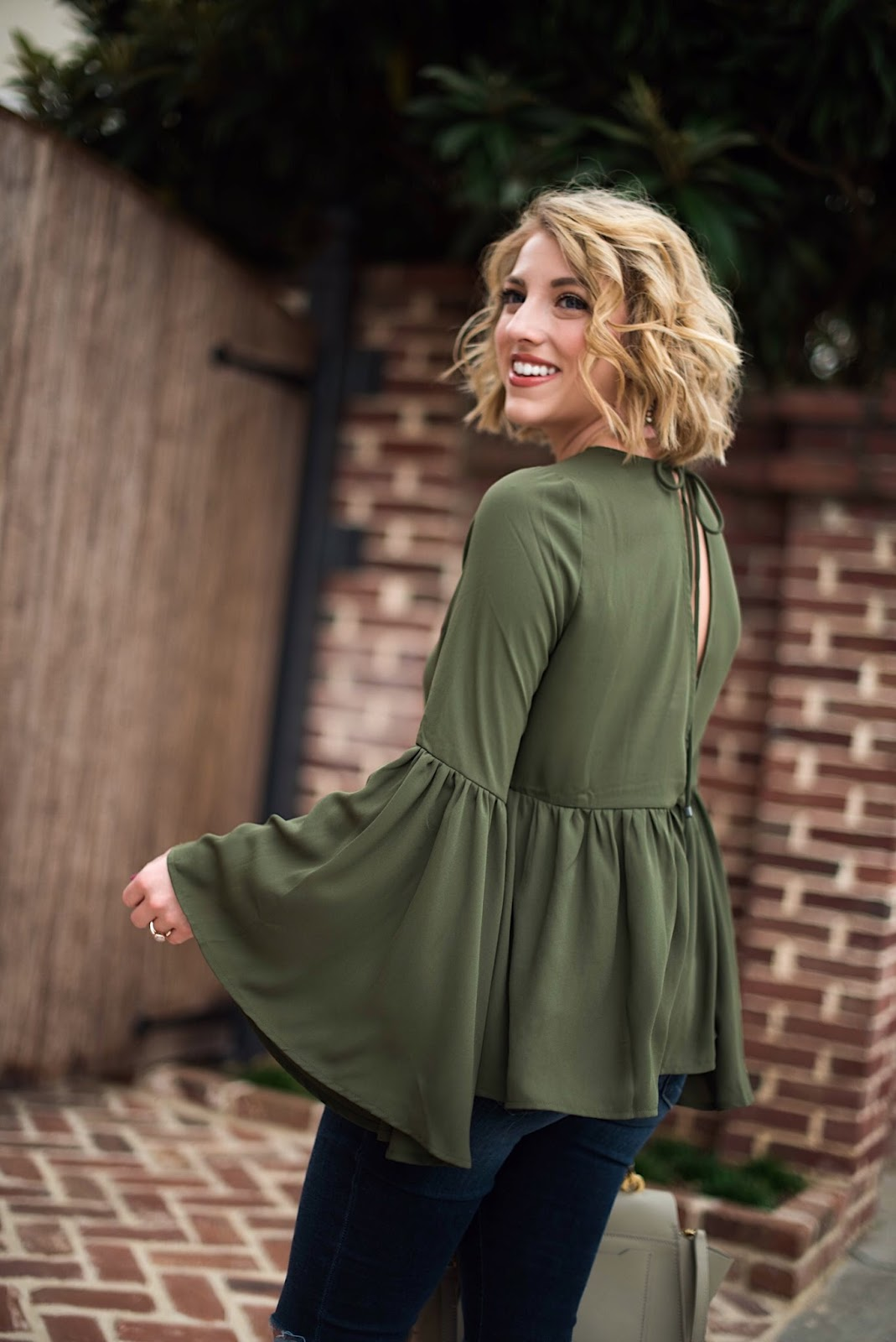 Olive Green Ruffle Hem Top - Something Delightful Blog @racheltimmerman