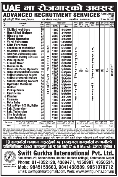 Jobs in UAE for Nepali, Salary Rs 2,32,000