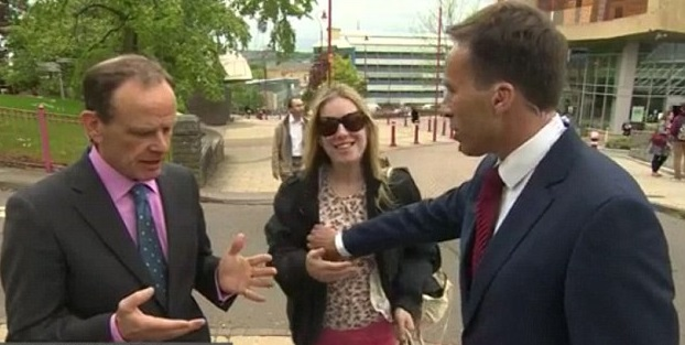 BBC Presenter Accidentally Touches Woman's Breast As She Interrupts His Broadcast (Photos)