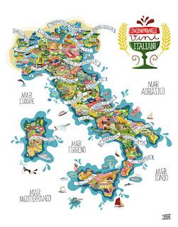 Mapa de Italia y sus regiones.