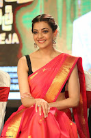 Kajal Aggarwal in Red Saree Sleeveless Black Blouse Choli at Santosham awards 2017 curtain raiser press meet 02.08.2017 045.JPG