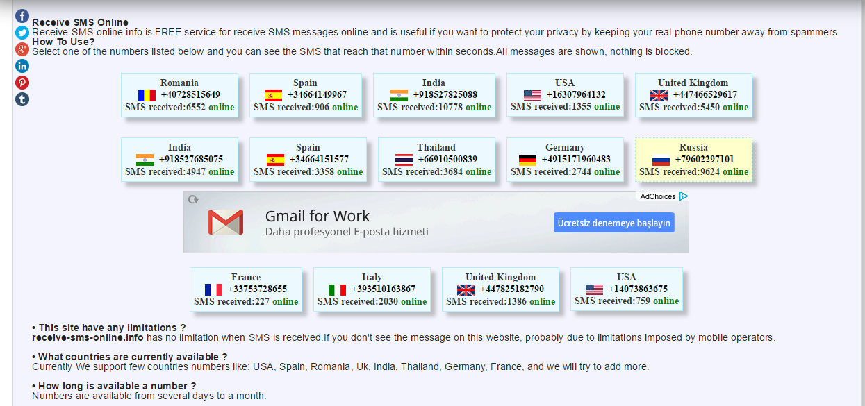 Summary -> Receive Sms Online France Germany Romania Spain