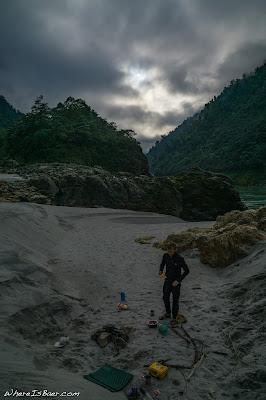 camping side of river Arunachal Pradesh kayak himalayas Siang river WhereIsBaer.com Chris Baer