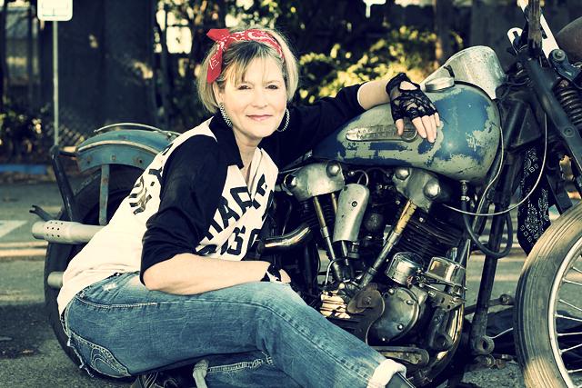 Fifty Something Old School Biker Mama