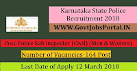 Karnataka State Police Recruitment 2018-Police Sub Inspector (Civil) (Men & Women)
