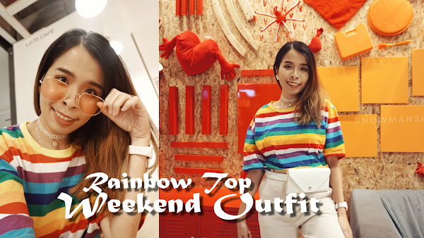 SUPER Rainbow Top Weekend Outfit with SharonOOTD