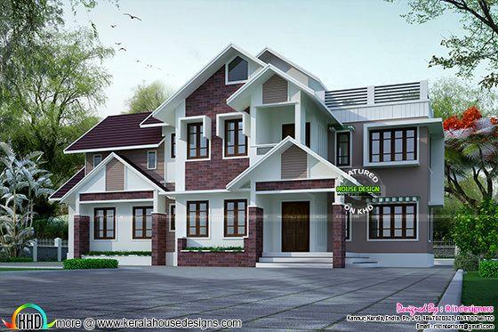 Superb slope roof house plan