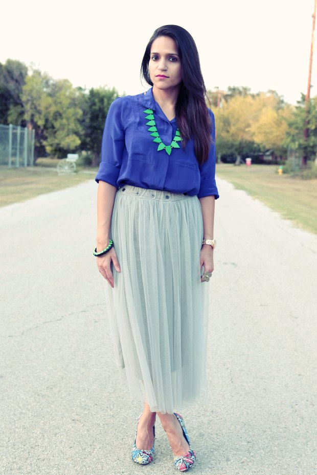 Indigo Blue, Net skirt, Oasap, Crazy & Co. Necklace, Rockdog Pumps, Date Night, Tanvii.com