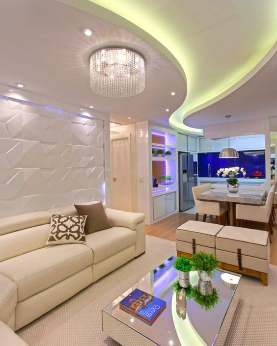 False Ceiling Designs For Living Room In Flats: How To Make A False Ceiling Design With Lighting