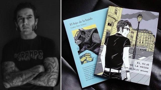 Carlos Télez y la portada de su primera novela