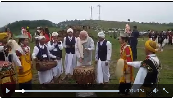 PM Modi earned praise by a Khasi musician on Saturday after playing 'Ka Bom', a traditional drum, striking the right beats.  Modi, who is on a two-day state visit to Meghalaya, interacted with Khasi tribal musicians.  A video shared by Modi, shows him following the 'Ka Bom' beats, as shown by a local musician. Impressed by Modi's effort, the musician reached out and patted his back.