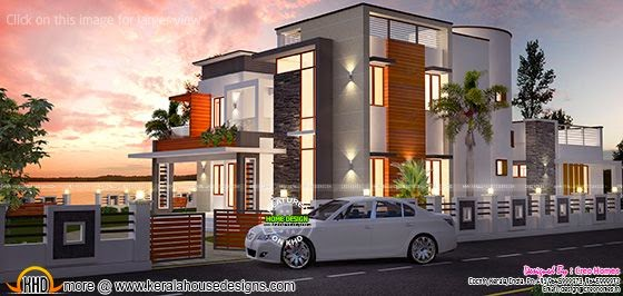 Front Elevation Of 240 Yards House : Waterfront house design kerala home and floor plans