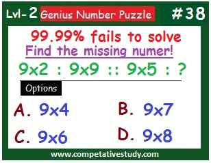 Number Puzzle: Find the missing number: 9x2 : 9x9 :: 9x5 : ?