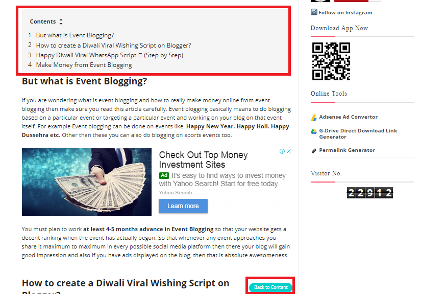 How to Make a Table of Contents in Blogger Posts