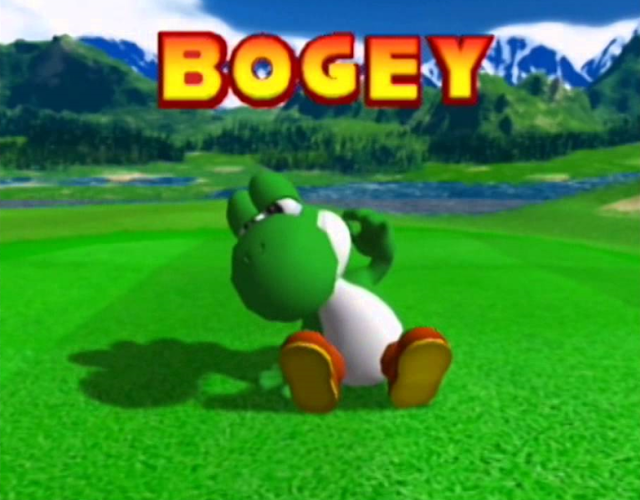 Mario Golf's Depiction of a Bogey Reaction