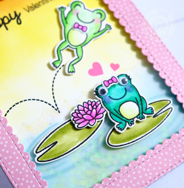 Sunny Studio: Froggy Friends Hoppy Valentine's Day Frog Card by Lexa Levana.
