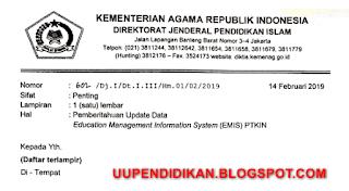 Surat Edaran dan Jadwal Update Data EMIS PTKIN Tahun 2019