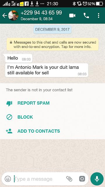 Whatsapp dari Scammer bertarikh 9 Disember 2017