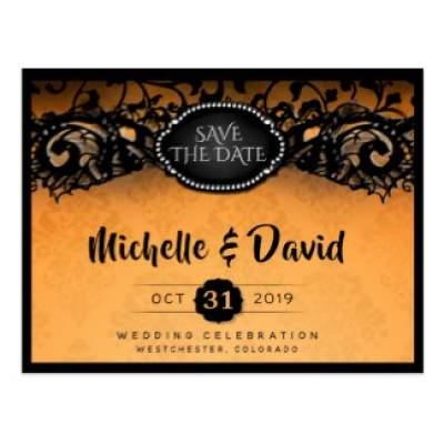 Orange & Black Skeletons Halloween Wedding Save the Date Postcard