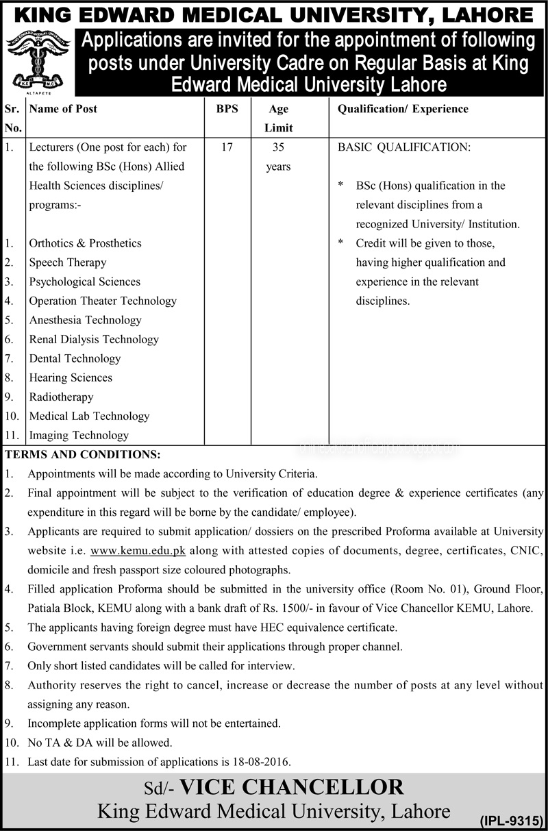 King Edward Medical University Lahore Jobs august 2016