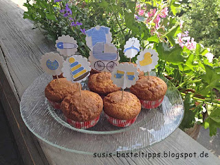 "Muffin Dekoration für Babyshower mit Stampin' Up! Stempelset ""Something for Baby"""