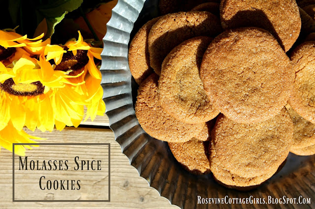 Molasses Cookies Recipe, Molasses Cookies, Molasses Spice Cookies, by Rosevine Cottage Girls, Fall cookie recipe