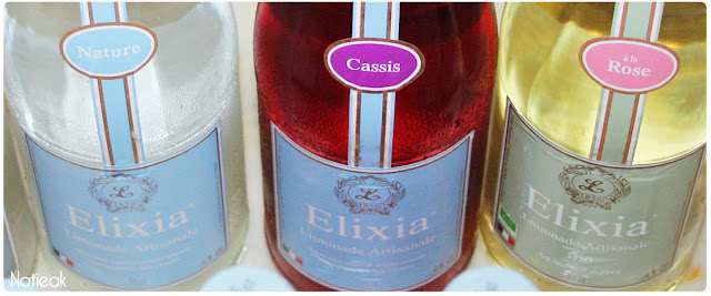 Elixia  limonade nature,cassis et rose bio