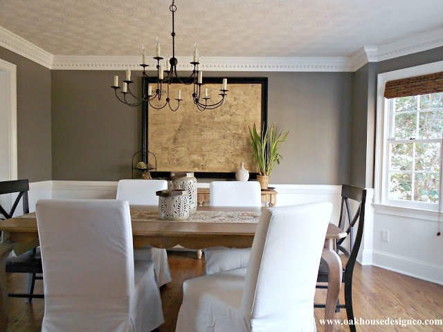 dark neutral walls white trim dining room