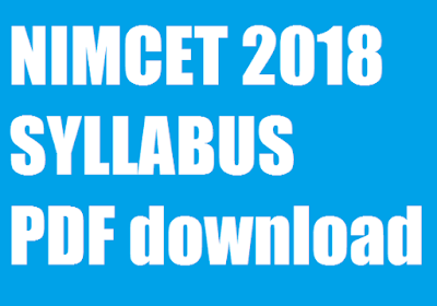 Download Free NIMCET Syllabus 2018 - 2019 (MCA Entrance Exam) PDF