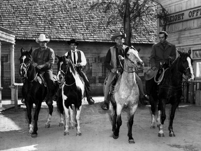 The Cartwrights on horseback from 1959 Bonanza